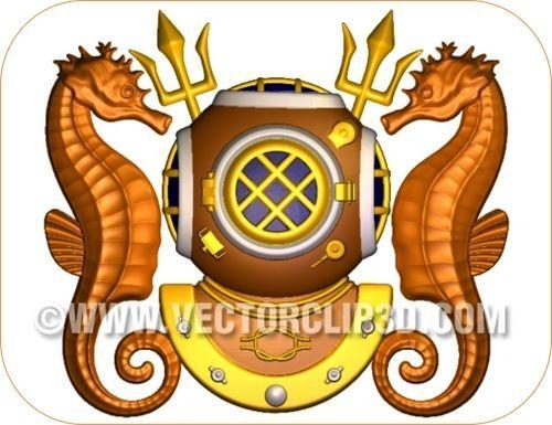 V31399 - Navy Diver Emblem, Carved in 3D from Wood or HDU