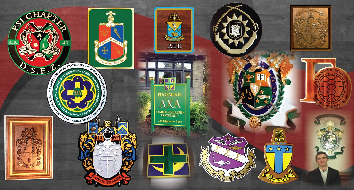 Wall Plaques and signs of fraternity and sprority coat-of-arms, emblems and logos