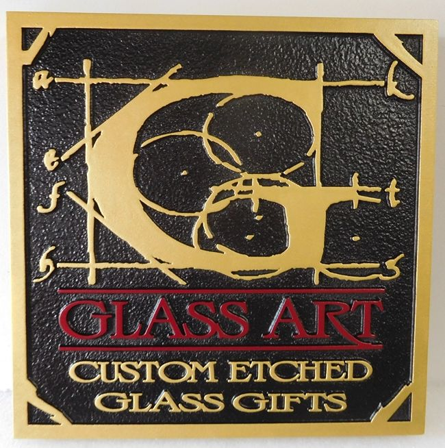 "SA28413 - Carved 2.5-D  HDU  Sign for the ""Glass Art"" Gift Shop, with Gold Design for Etched Glass"