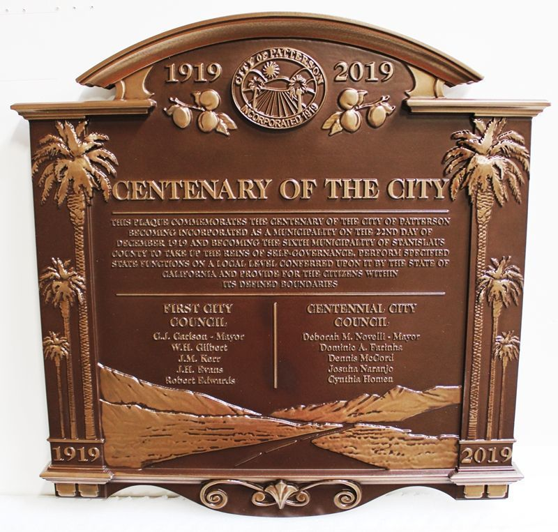 X33230 - Carved 3-D Bas-Relief Bronze-plated Centenary Plaque for the City of Patterson, California
