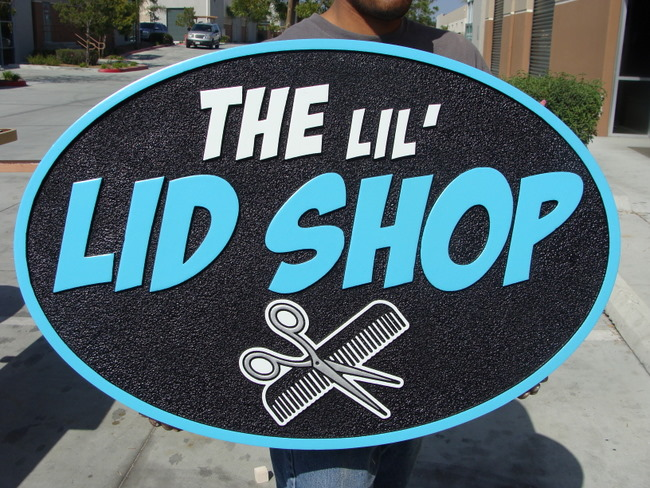 "SA28437 - Carved 2.5-D   ""The Lil' Lid"" Barber Shop Sign with Comb and Scissors"