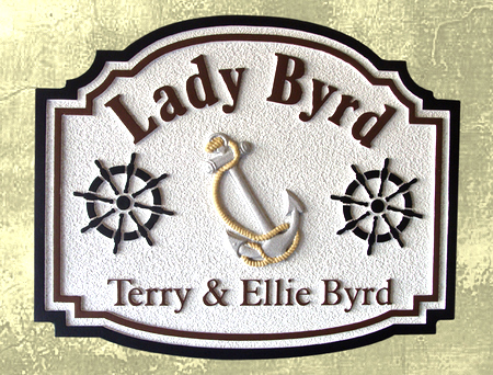 L22009 - Carved Yacht Name Sign, with Anchor and Ships Wheel, on Dock Post