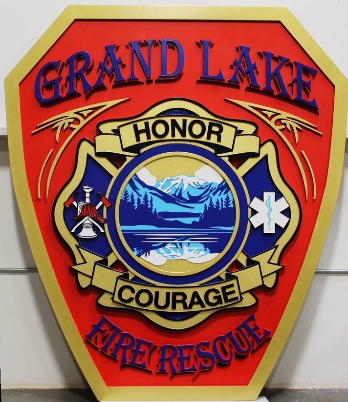 X33875 - Carved 2.5-D HDU Plaque of the shoulder patch of the Fire & Rescue Department of Grand Lake, Colorado
