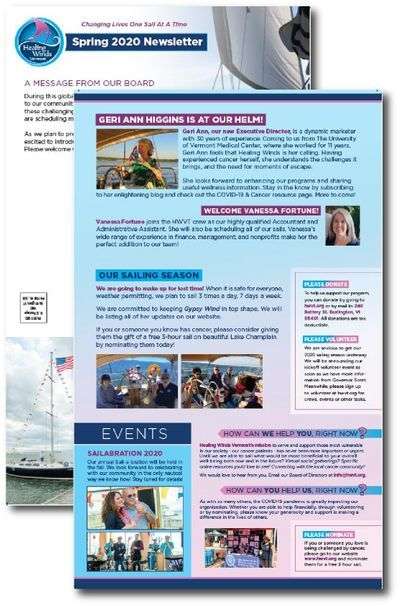sample printed newsletters arranged spread