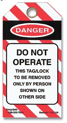 Do Not Operate Lockout Tag