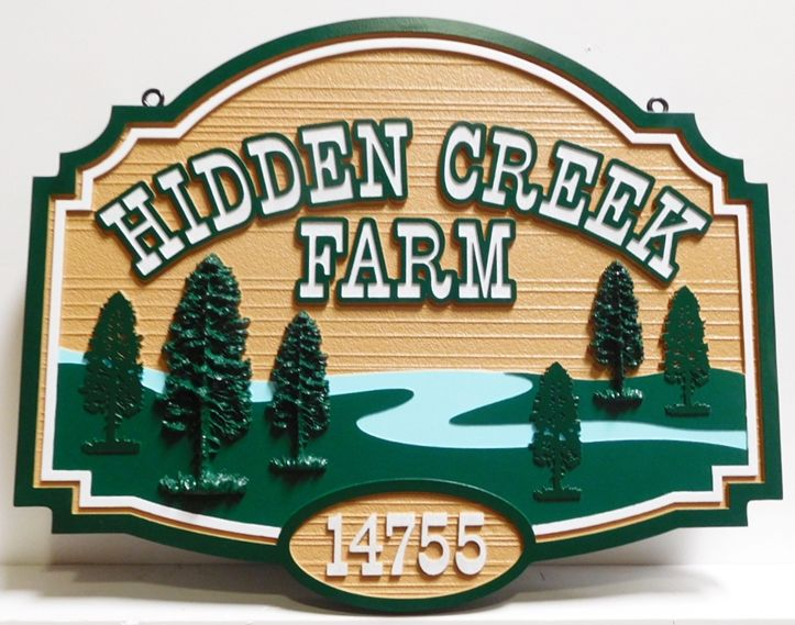 """Q24844 - Carved and Sanddblasted  Address and Entrance Sign for  """"Hidden Creek  Farm""""  with a Scene of a  Creek and Trees as Multi-level Artwork"""