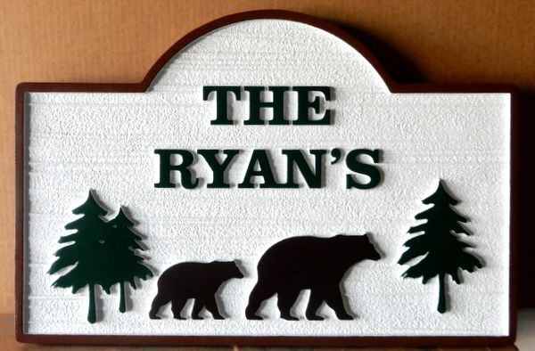 M22862 - Sandblasted, Carved HDU Mountain Residence Address Sign with Carved Bears and Pine Trees
