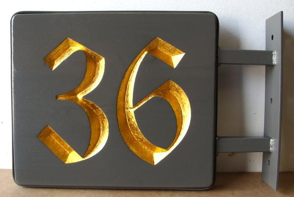I18873 - Carved HDU Address Number Sign, Gold-Leaf-Gilded, with Side Mount