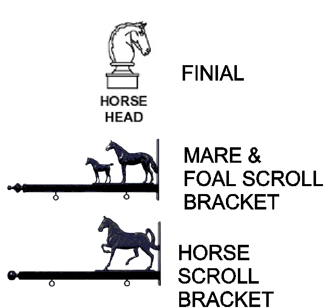 P25330 - Examples of Equestrian Scroll Brackets and Finial