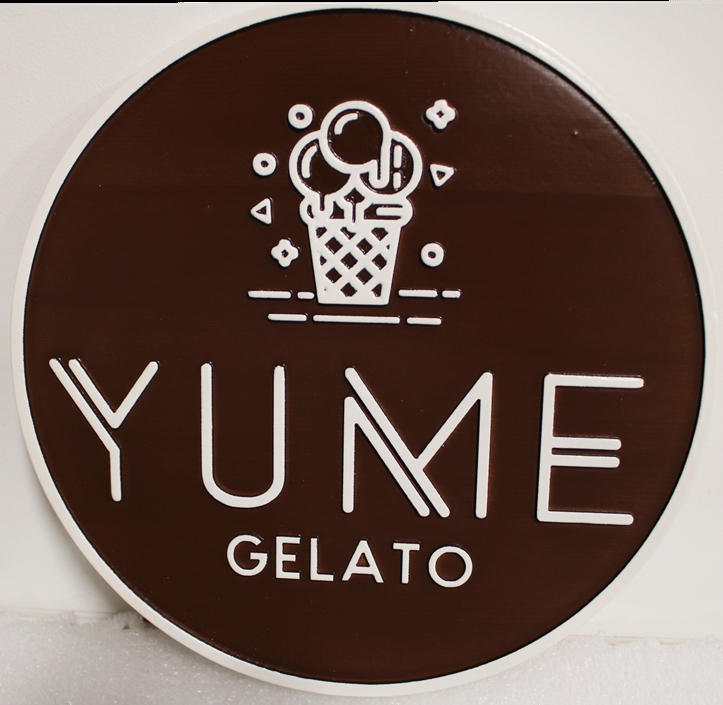 Q25820 - Carved Sign for YUME Gelato, 2.5-D arist Painted with Cone as Artwork