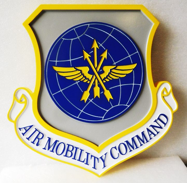 LP-1668 - Carved Plaque of the  Shield Crest Air Force Air Mobility Command, 2.5-D Artist Painted