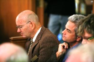 Jim Buford & Kirk Curnutt listen to a student writer.