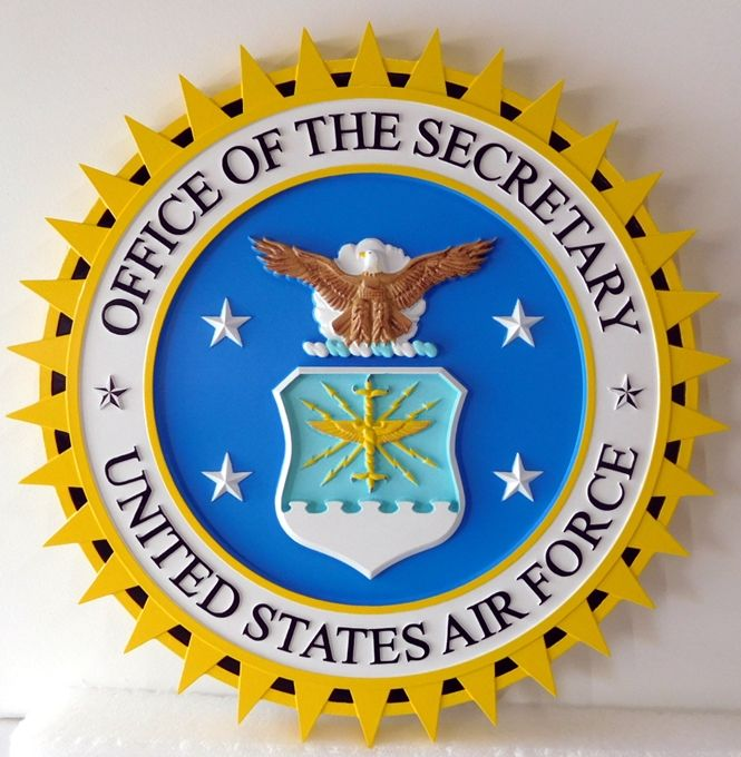 LP-1030 - Carved Plaque of the Seal of the Office of the Secretary of the Air Force, Artist Painted
