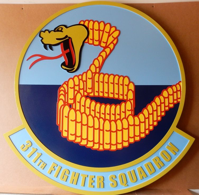 """LP-2340 - Carved Round Plaque of the Crest of the 311th Fighter Squadron """"Stingers"""",  Artist Painted"""