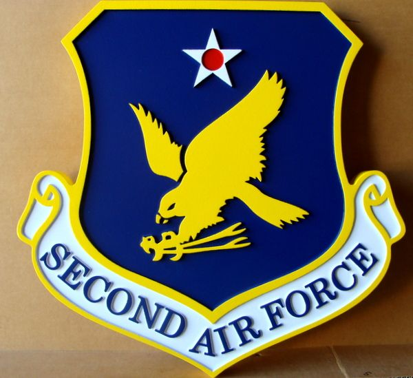 LP-1530 - Carved  Plaque of the Shield Crest of the Second Air Force, 2.5-D Artist Painted