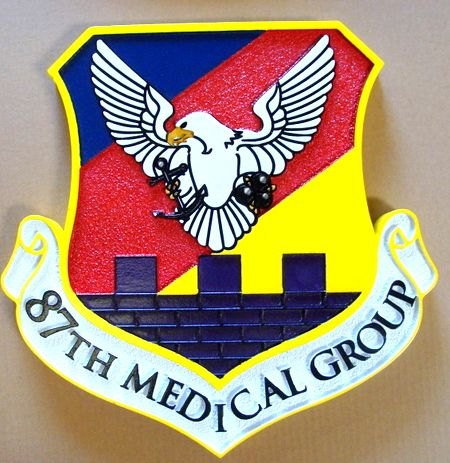 V31578 - Wall Plaque of the Shield Crest for 87th Medical Group