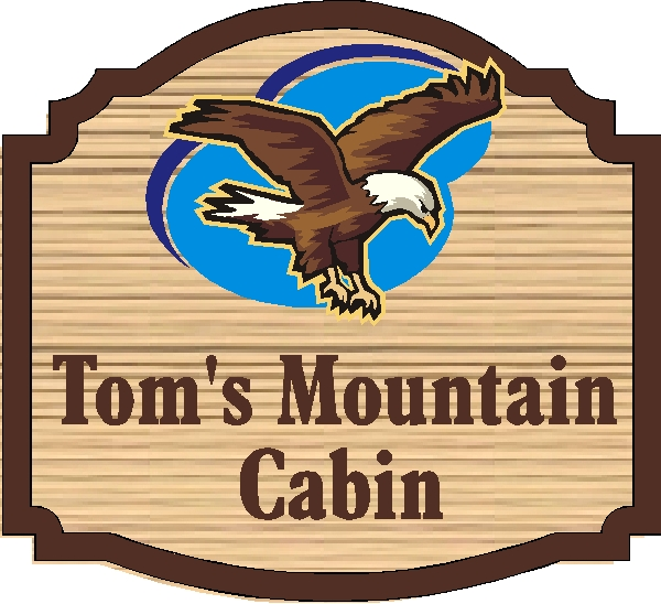 M22730 - Cabin Sign with Eagle in Blue Sky