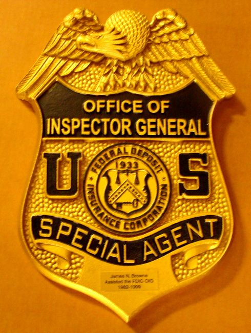 M7428 - Metallic Gold Painted 3D Carved HDU  Wall Plaque,  Special Agent Badge