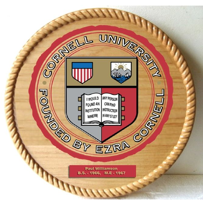 RP-1680 - Carved Wall Plaque of  the Seal of Cornell University, Personalized, Artist Painted on Cedar Wood