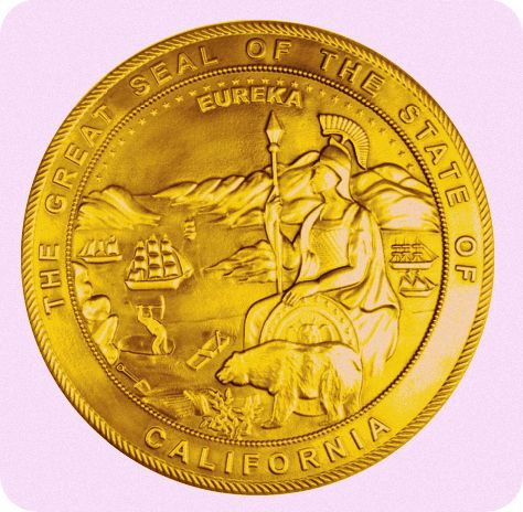 GP-1050 - Carved Plaque of the Seal of the Supreme Court , State of California, Gold Leaf Gilded