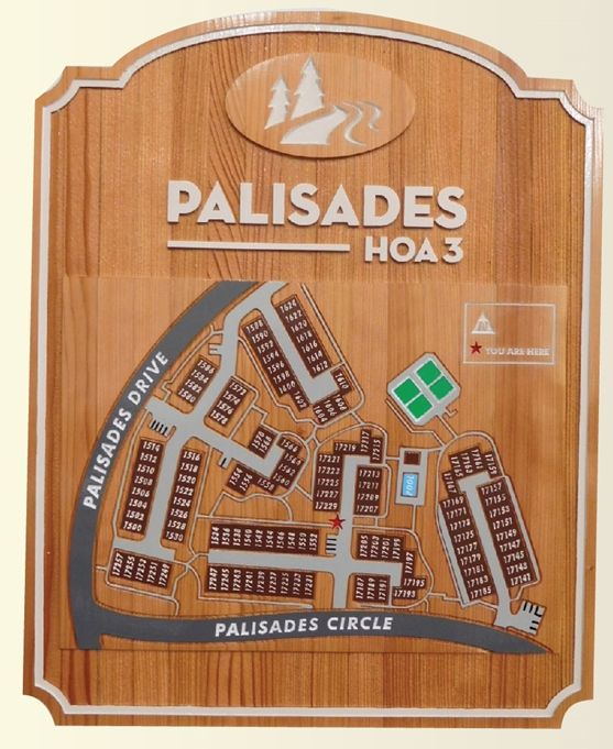 KA20800 - Carved 2.5-D Redwood Property Map with Buildings and Streets  forPalisades HOA