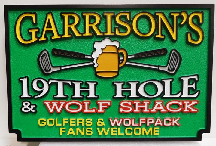 "E14622 - ""Garrison's"" Nineteeth Hole Clubhouse Golf Sign, Carved in 2.5D Raised Outline Relief"
