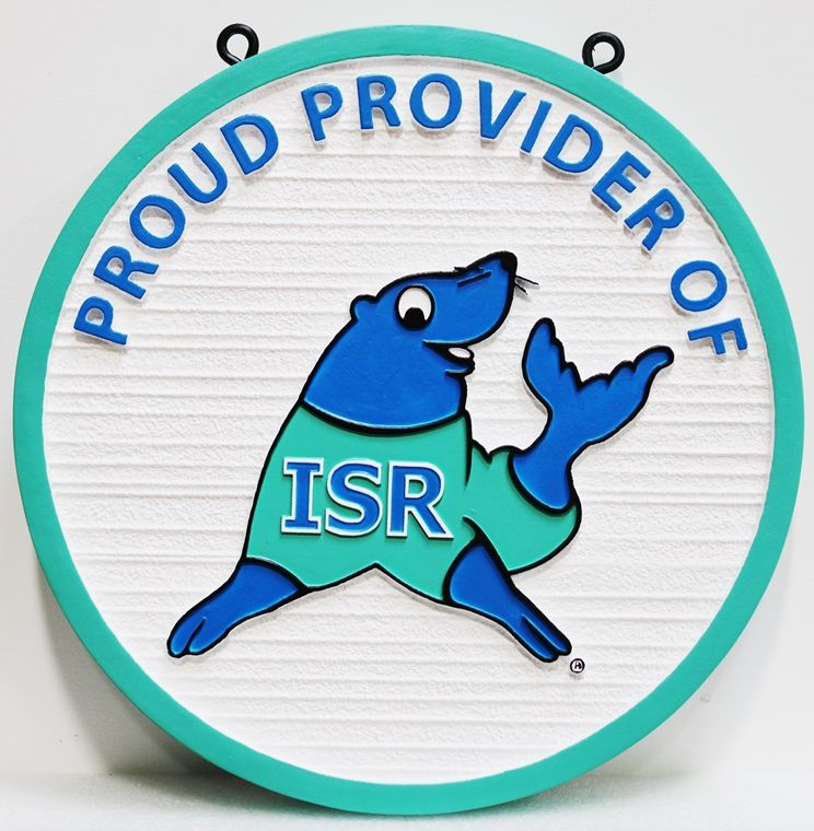 SA28836 -  Carved Sign  for the ISR Company, with its  Logo (a Seal) as Artwork.