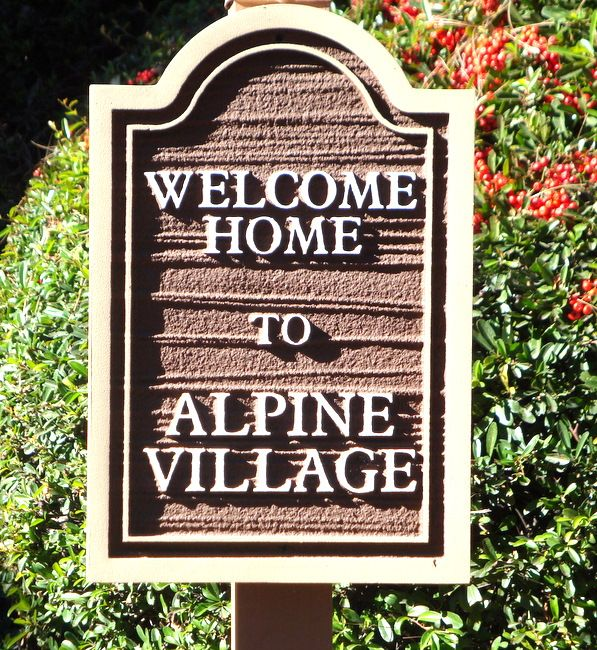 "KA20588 - Carved Wood Look HDU Sign for ""Welcome Home to Alpine Village"" Apartment Residence"