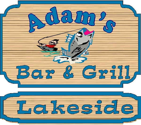 "M22433 - Design for Carved Lakefront Business Sign ""Bar and Grill"" with Fisherman and Bass as Artwork"