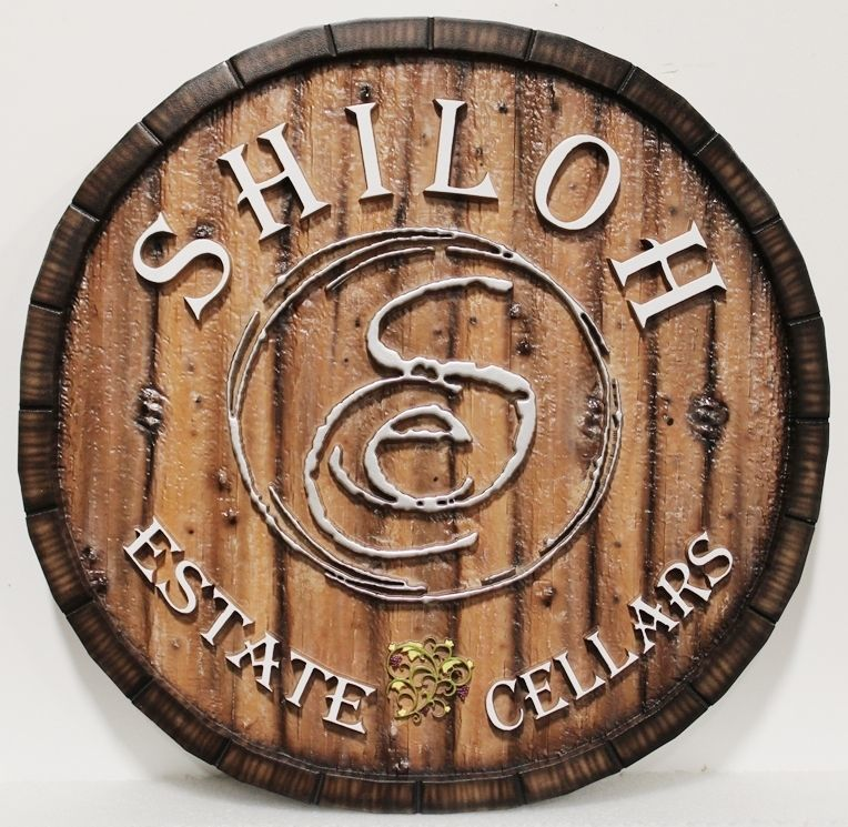 R27015 - Carved 2.5-D HDU  Sign for the Shiloh Estate Cellars, with Background Painted to look like Wood