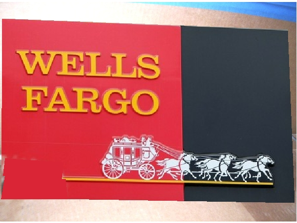 VP-1140 - Carved Wall Plaque of the Logo of Wells Fargo Bank, Artist Painted