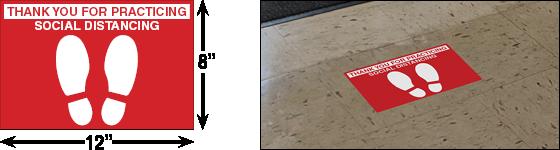 12 Stickers per Pack Coronavirus Social Distancing Floor Decal 6 x 18