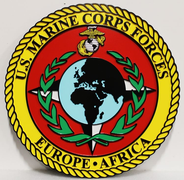 KP-2046 - Carved 2.5-D Raised  Outline HDU Plaque of the Crest of the US Marine Corps Forces in Europe & Africa