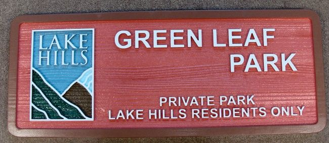 GA16450 - Carved, Redwood Sign with Lake and Hills Artwork,  for Private Park for Residents