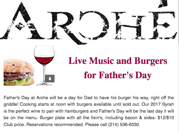 Arché Live Music and Burgers For Father's Day
