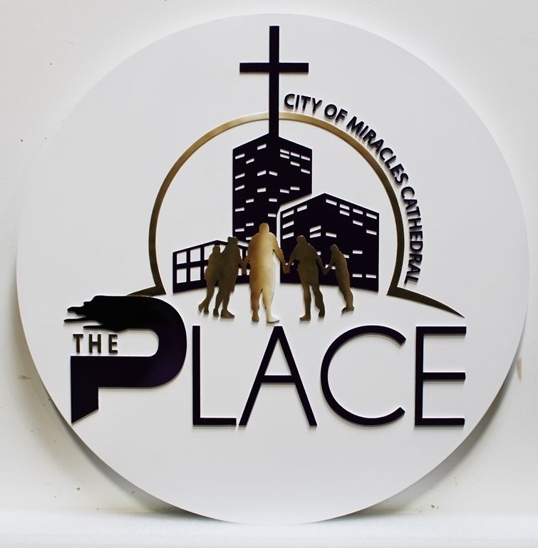 """D13030 - Carved 2.5-D Multi-Level Raised Relief HDU Sign for the """"The Place - City of Miracles Cathedral"""""""