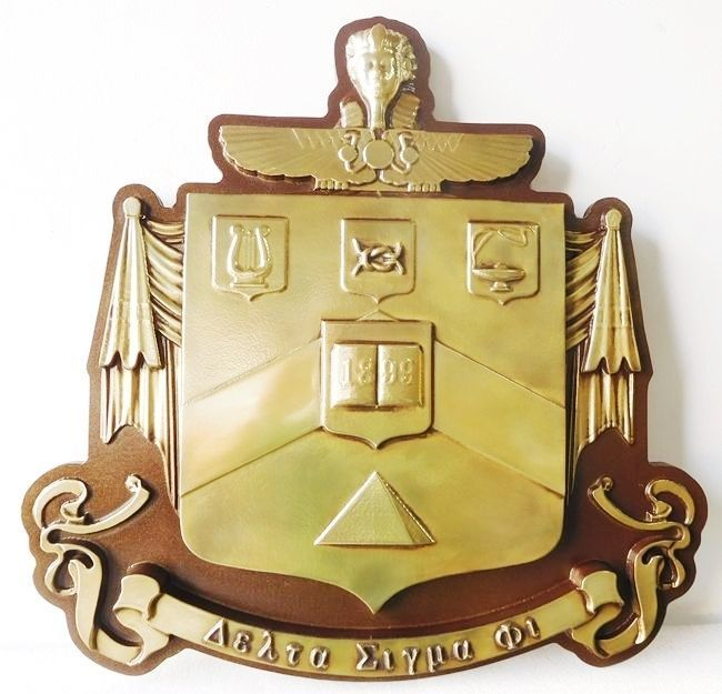SP-1220 - Carved Wall Plaque of College Fraternity Coat-of-Arms / Crest, Delta Sigma Phi,  Painted in Metallic Gold