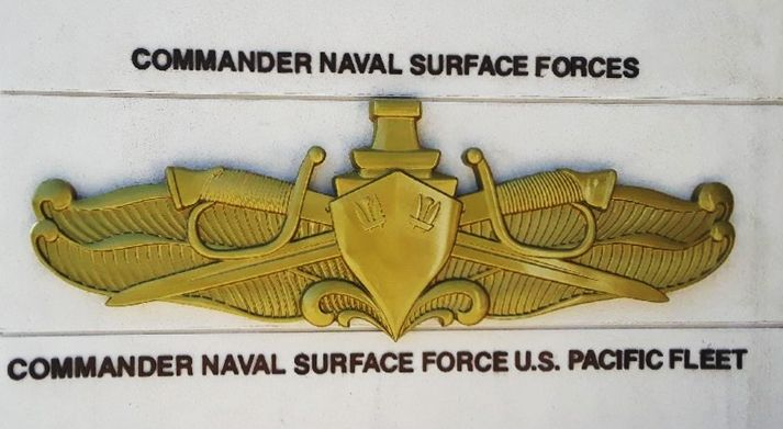 JP-1225 - Carved Outdoor Wall Plaque Insignia of Commander Naval Surface Forces, Pacific Fleet, 3-D Metallic Gold Painted