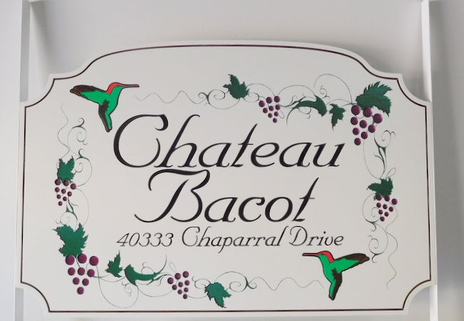 "I18234 - Engraved Residence Name Sign ""Chateau Bacot"", with Hummingbirds and Grape Clusters as Artwork"