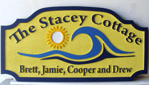 "L21164 - Sandblasted HDU Plaque for ""Stacey Cottage"" on the Seashore, with Surf and Sun"
