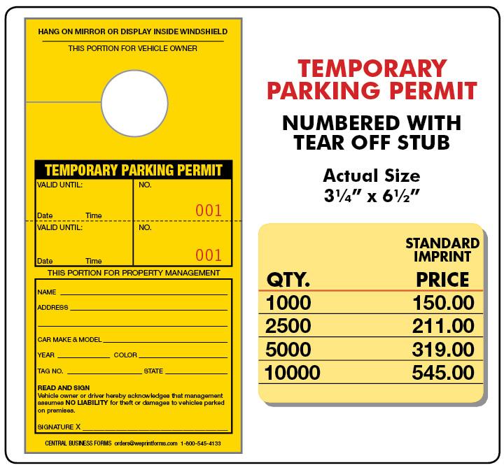 Temporary Parking Permit