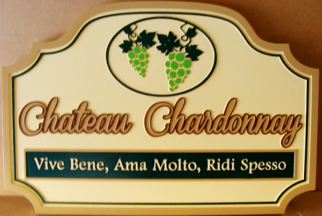 R27008 - Carved 2.5-D  High-Density-Urethane (HDU) Chateau Chardonnay Sign , with Grape Cluster