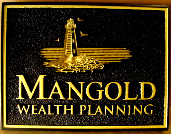 "Z35328 - Carved ""Mangold"" Wealth Planning Firm Sign, with Raised Text, Lighthouse and Border, 24K Gold Leaf Gilded"