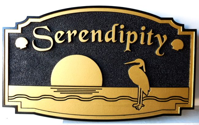 """L21616 - Coastal Residence Sign """"Serendipity"""" with Sun, Crane and Waves in Waterm Painted in Metallic Gold and Black"""