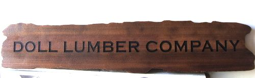 S28049 -  Rustic Engraved Stained Wood Sign for Lumber Company