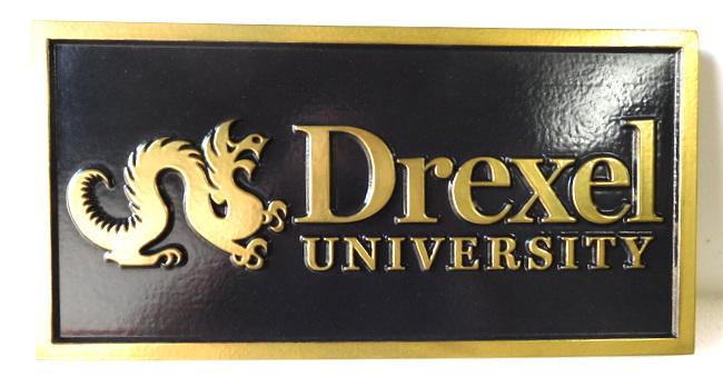 MB2320 - Drexel University Plaque, 2.5-D Hand-rubbed black paint