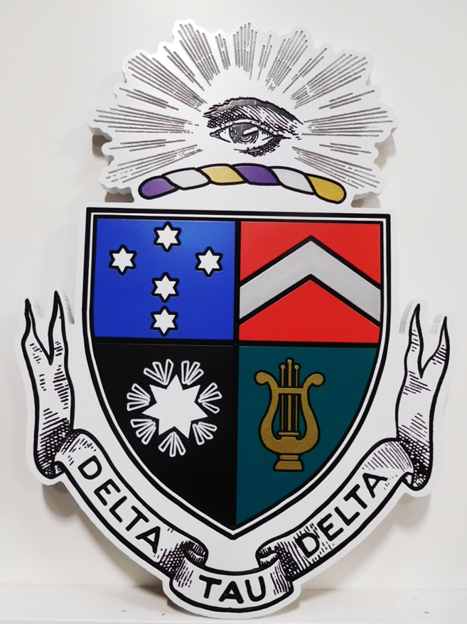 SP-1330 -   Carved Wall Plaque of Delta Tau Delta  College Fraternity Coat-of-Arms / Crest, 2.5D Engraved  Artist Painted