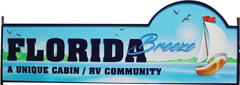 K20417 - Carved HDU Entrance Sign for theFlorida Breeze Cabin & RV Community., with a Coastal Scene and Sailboat as Artwork