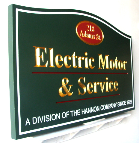 M2079 - Carved Wood Electric Motor Retail Store Sign. Gold-Leaf Engraved Text