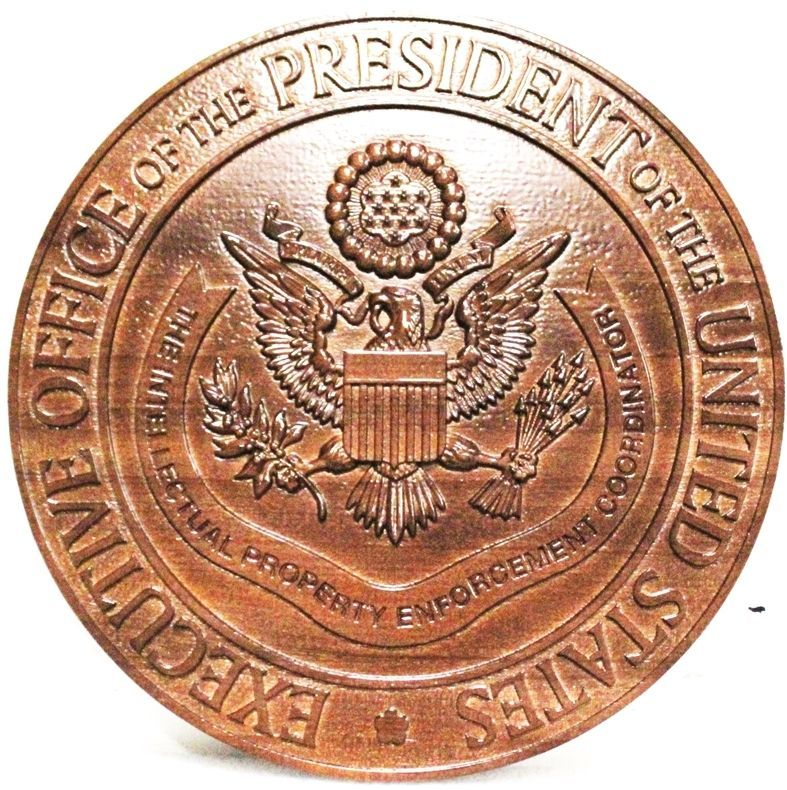 AP-1194 - Carved 3-D Mahogany Plaque of the Seal of theExecutive Office of the President of the United States, Intellectual Property Enforcement